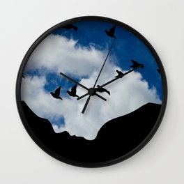 Sky, Face Profile Mountains and Black Birds Wall Clock