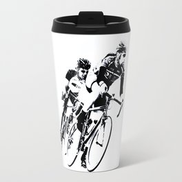 Bicycle racers into the curve... Travel Mug