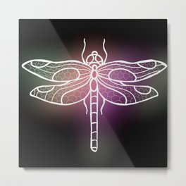 Botanical Dragon Fly Drawing, Succulent Hues Metal Print