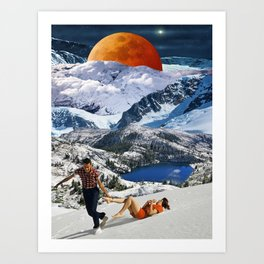 Red moon over winter mountains Art Print