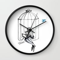 nicolas cage Wall Clocks featuring Cage by Eyad Shtaiwe