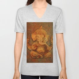 Lord Ganesh On a Distress Stone Background Unisex V-Neck
