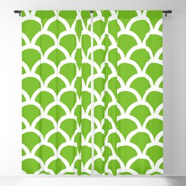 Fish Scales in Green and White Blackout Curtain
