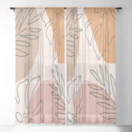 Abstract Nature Leaf Minimalist Print Sheer Curtain