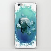 dolphins iPhone & iPod Skins featuring Dolphins by Lynne Hoad