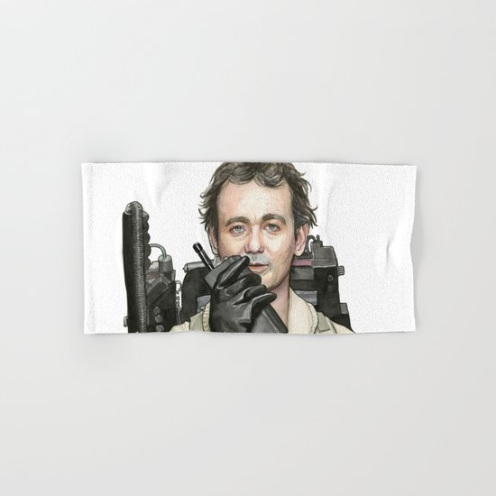 Bill Murray as Peter Venkman from Ghostbusters, Watercolor Portrait Hand & Bath Towel