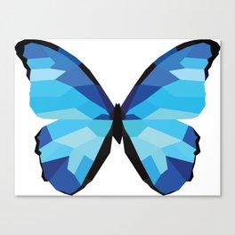 Blue butterfly Low polly artwork Geometric Blues art Canvas Print