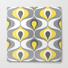 Retro ogee ovals Illuminating Yellow, Ultimate Gray Metal Print