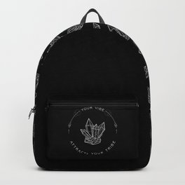 Your Vibe Attracts Your Tribe - Quote (White on Black) Backpack