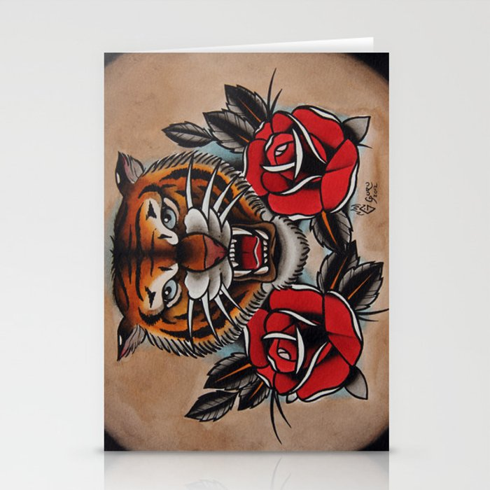 Old School Tiger And Roses Tattoo Stationery Cards By Gurumarques
