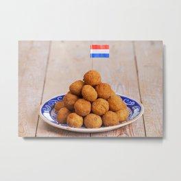 Dutch food: 'bittergarnituur' or 'bitterballen', deep fried snacks Metal Print