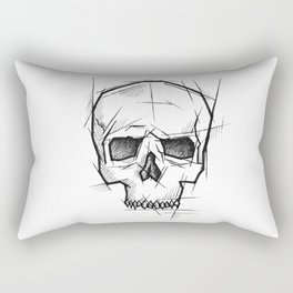 Skull Handmade Drawing, Made in pencil, charcoal and ink, Tattoo Sketch, Tattoo Flash, Sketch Rectangular Pillow