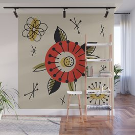 Red Mid Century Modern Flower  Wall Mural