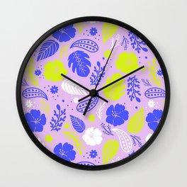 Purple & Neon Green Tropical Foliage Wall Clock