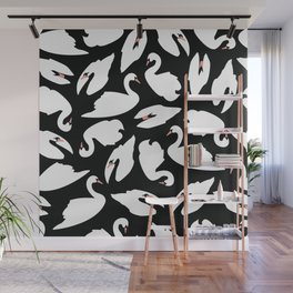 White Swans on Black seamless pattern Wall Mural