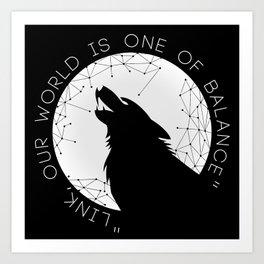 Twilight Wolf - White Art Print