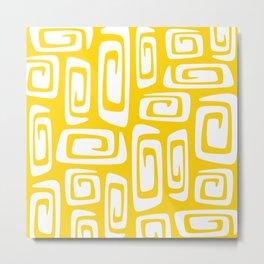 Mid Century Modern Cosmic Abstract 612 Yellow Metal Print