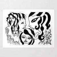 Twin faces Art Print