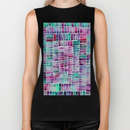 Watercolor abstract rectangles - purple and turquoise Biker Tank