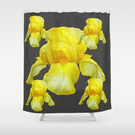 YELLOW SPRING IRIS  BOTANICALS ON GREY Shower Curtain