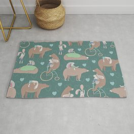 Adorable and Lovely Bears and Bunnies Pattern Rug