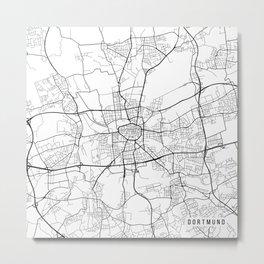 Dortmund Map, Germany - Black and White Metal Print