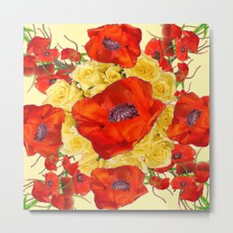 ORANGE POPPY FLOWERS GARDEN YELLOW ROSES ART Metal Print