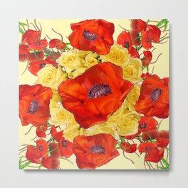 ORANGE POPPY FLOWERS GARDEN YELLOW ROSES ART Metal Print