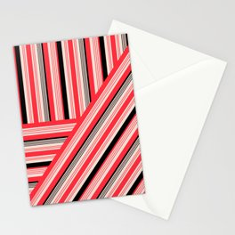 Retro red and black stripes Stationery Cards