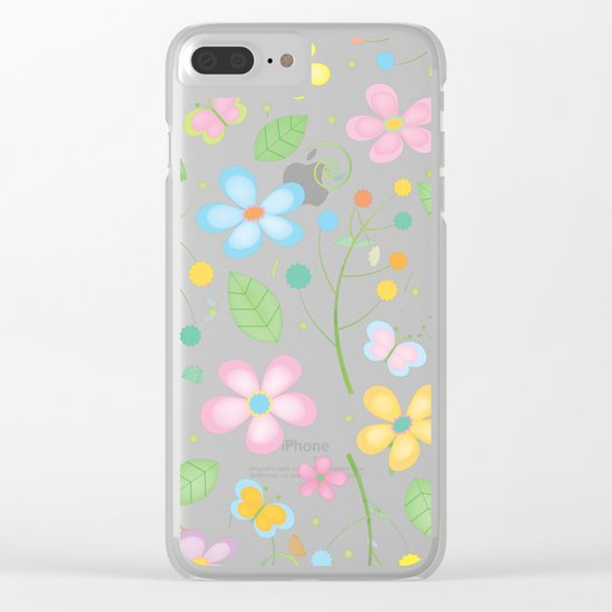 Floral and Butterfly Pattern - Spring Blossom Clear iPhone Case