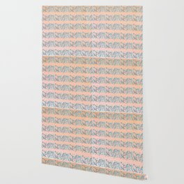 Coral teal watercolor abstract geometric stripes Wallpaper