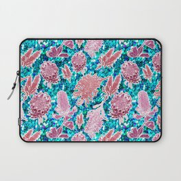 Pink and blue glittery australian native floral print Laptop Sleeve