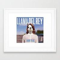 lana del rey Framed Art Prints featuring Llama Del Rey by Creatmaker