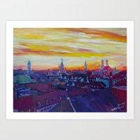 Munich Skyline with Burning Sky at Sunset Art Print
