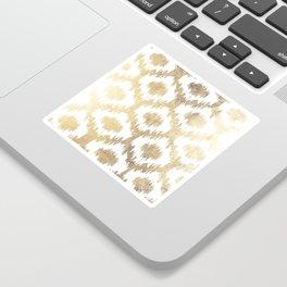 Modern white hand drawn ikat pattern faux gold Sticker