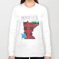 minnesota Long Sleeve T-shirts featuring Minnesota Lumberjack by Sara Hynes Designs