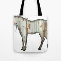 wooden Tote Bags featuring Wooden horse by Vin Zzep