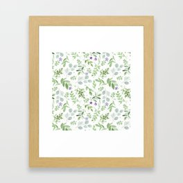 Botanical forest green lavender watercolor floral Framed Art Print