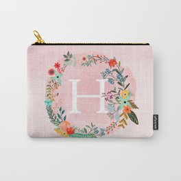 Flower Wreath with Personalized Monogram Initial Letter H on Pink Watercolor Paper Texture Artwork Carry-All Pouch