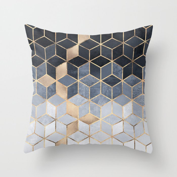 Soft Blue Grant Cubes Throw Pillow