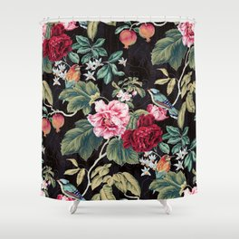 Noir Flower Pattern Shower Curtain