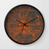 houston Wall Clocks featuring Houston map by Map Map Maps