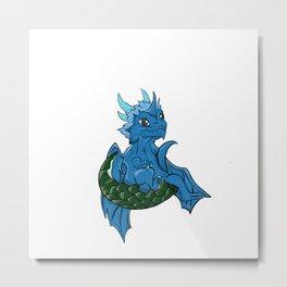 Blue Ice Dragon Metal Print