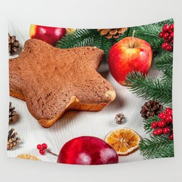 Photo New year little stars Apples Food Berry Cook Wall Tapestry