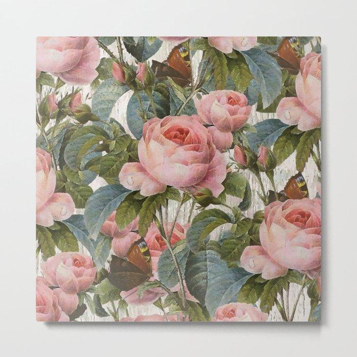 Floral roses pattern Metal Print