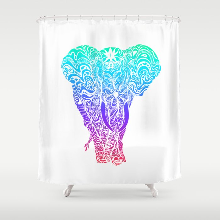 Not A Circus Elephant Neon Version Shower Curtain