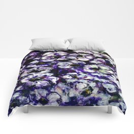 White Flowers on Purple Background Comforters