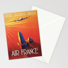 Vintage Mid Century Travel Poster Air France Jet African Islamic Mosque Monochrome Orange Sunset Stationery Cards