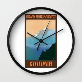 1930 Kashmir Indian State Railways Travel Poster Wall Clock