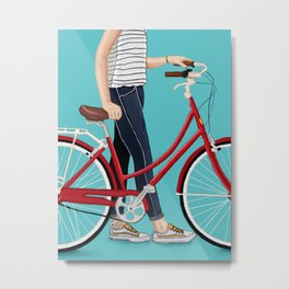 Girl Bike Metal Print